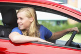Teenage Girl Sitting In Car — Stock Photo