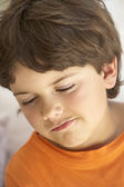 Portrait Of Young Boy Sulking — Stock Photo