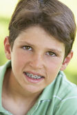 Kids Portraits, Boy, Happy, Smiling, Braces, Kids, Headshot, Por — Stock Photo