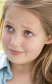 Portrait Of Pre-Teen Girl Looking Unsure — Stock Photo
