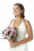 Retrato de novia con ramo de flores — Foto de Stock