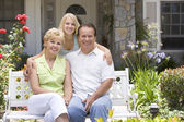 Man, Woman, My House, Bench, Couple, Front Yard, Sitting, Happy, — Stock Photo