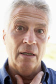 Senior,portrait,Man,Fifties,Unsure,Anxious,Worried,Headshot,Port — Stock Photo