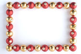 Border Made From Red And Gold Baubles — Stock Photo