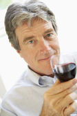 Man Drinking A Glass Of Red Wine — Stock Photo