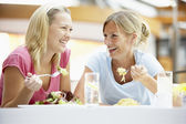 Female Friends Having Lunch Together At The Mall — Stock Photo
