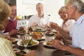 Friends Enjoying Lunch At Home Together — Stock Photo