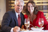 Couple Eating Dinner At A Restaurant — Stock Photo