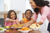 Mother Serving A Meal To Her Children At Home — Stock Photo