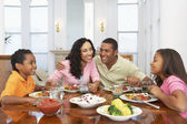Family Having A Meal Together At Home — Stockfoto