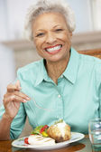 Woman Enjoying A Meal At Home — Stock Photo