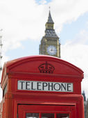 Telephone Booth In Front Of Big Ben Clock Tower, London, England — Stock Photo