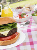 Al Fresco Dining With Hamburgers And Salad — Stock Photo
