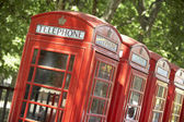 Red Telephone Booths In A Row — Stock Photo