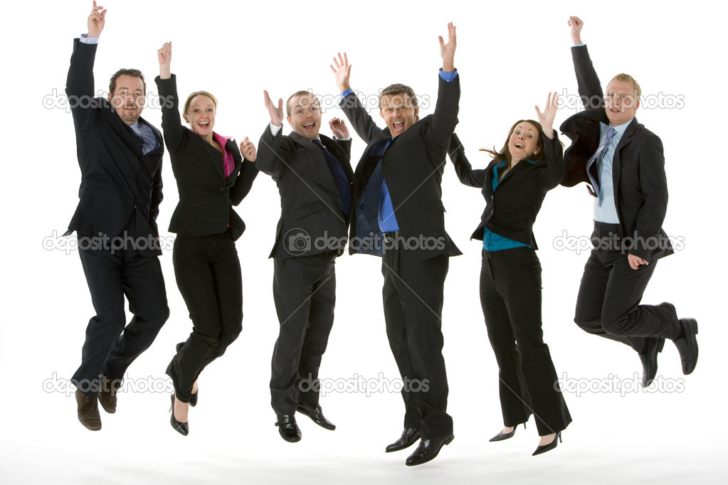 Group Of Business Jumping In The Air — Stock Photo #4781570