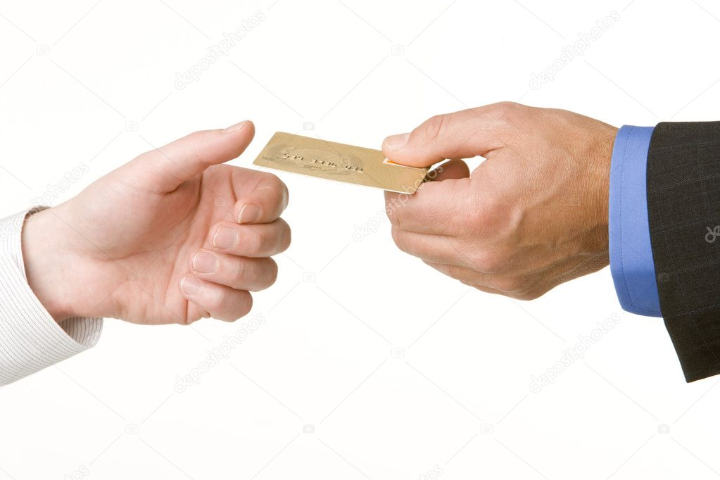Businessmen Passing Another A Gold Credit Card — Stock Photo #4781685