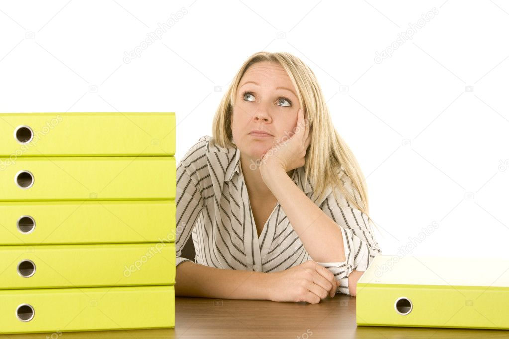 Businesswoman With Stack Of Folders — Stock Photo #4781733