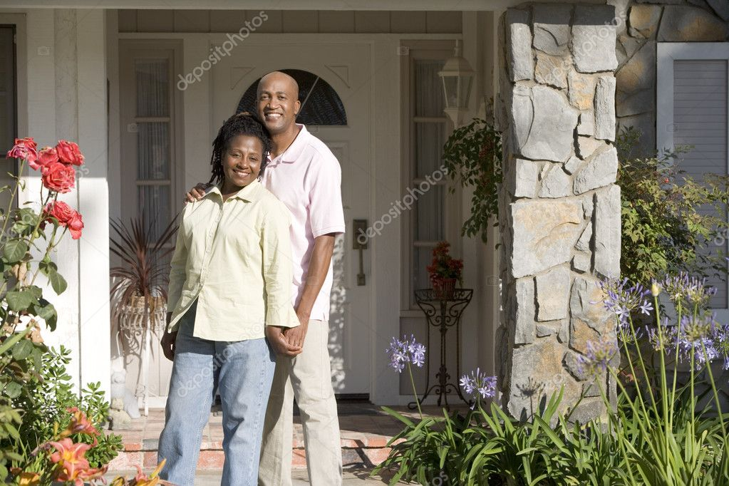 Man, Woman, My House, Front Door, Family, Happy, Home, House, Do — Stock Photo #4788312