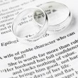 Silver Wedding Rings Resting On A Book — Stock Photo