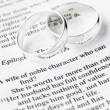 Stock Photo: Silver Wedding Rings Resting On A Book