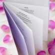 Stock Photo: Wedding Booklet Surrounded By Rose Petals