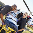 Paramedics unloading patient from Medevac - Foto Stock