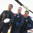 Portrait of paramedics standing in front of Medevac — Photo