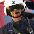 Portrait of paramedic standing in front of Medevac — Stock Photo #4790243