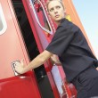 Stock Photo: Paramedic closing ambulance doors