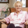 Senior woman relaxing in chair - Stock Photo