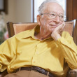 Senior man relaxing in armchair — Stock Photo