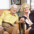 Senior couple holding hands — Stock Photo #4790479