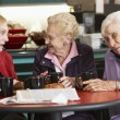 Stock Photo: Senior women drinking tetogether