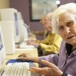 Stock Photo: Senior womusing computer