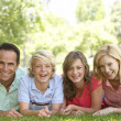 Couple And Their Teenage Children Lying On Grass — Stock Photo