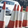 Traffic Cones Lined Up On The Side Of The Road — Stock Photo #4794471