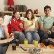 Group Of Children Eating Burgers At Home — Foto de Stock
