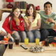 Group Of Children Eating Burgers At Home — ストック写真