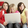 Group Of Three Girls Using Laptop At Home - Stock Photo
