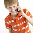 Young Boy With Mobile Phone — Photo