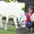 Farmer's Wife Feeding Pony - Stock Photo