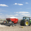Tractor Planting Seed In Field — Stock Photo