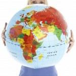 Woman Holding Globe — Stock Photo #4796011