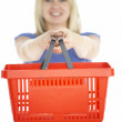 Woman Holding Shopping Basket — Stock Photo