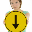 Woman Holding Road Traffic Sign — Stockfoto