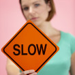 Woman Holding Road Traffic Sign — Stock Photo