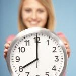 Teenage Girl Holding Clock — Stock Photo