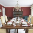 Dining Room With Laid Table - Stok fotoğraf