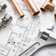 Plumbing Equipment On House Plans - Stock Photo