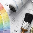 Decorating Equipment On House Plans - Stock Photo